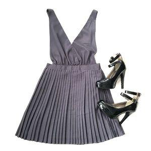 F21 Dark Grey Pleated School Girl Dress